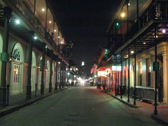 Bourbon Street at Night in Cursed New Orleans