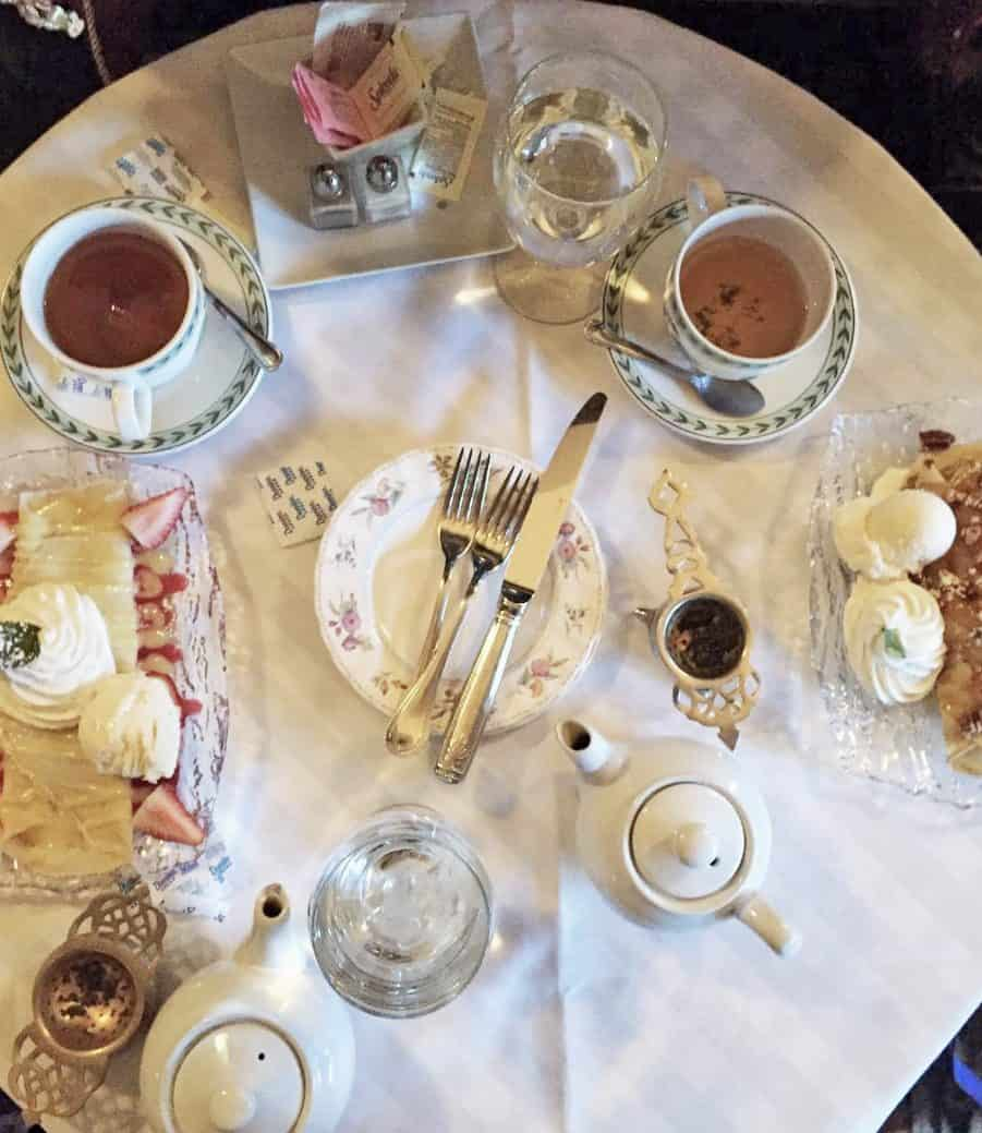 High tea at Suzette's in Wheaton, IL offers English or French tea options.