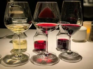 A mixed wine flight at Perry's Steakhouse in Oa kBrook