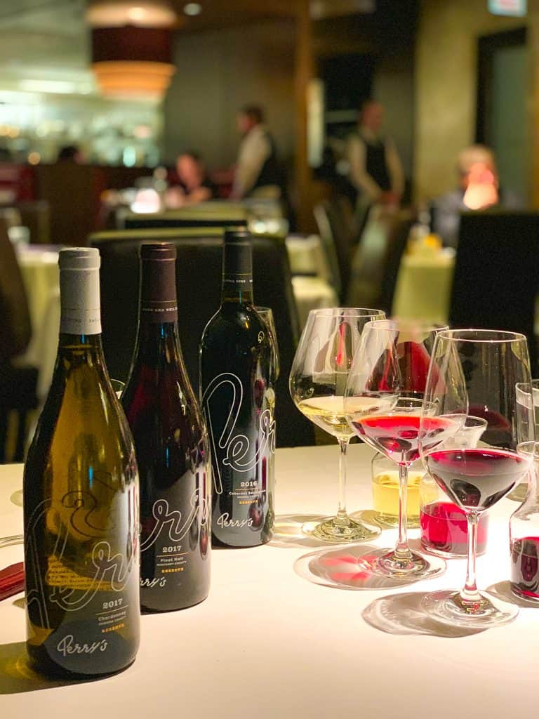 a wine experience at Perry's Steakhouse in Oak Brook, IL