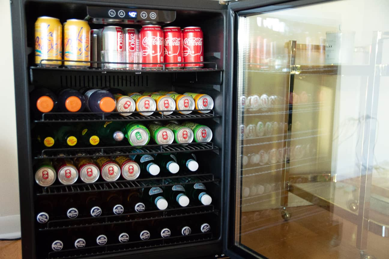 Making Space with NewAir 177-Can Black Stainless Steel Deluxe Beverage Fridge