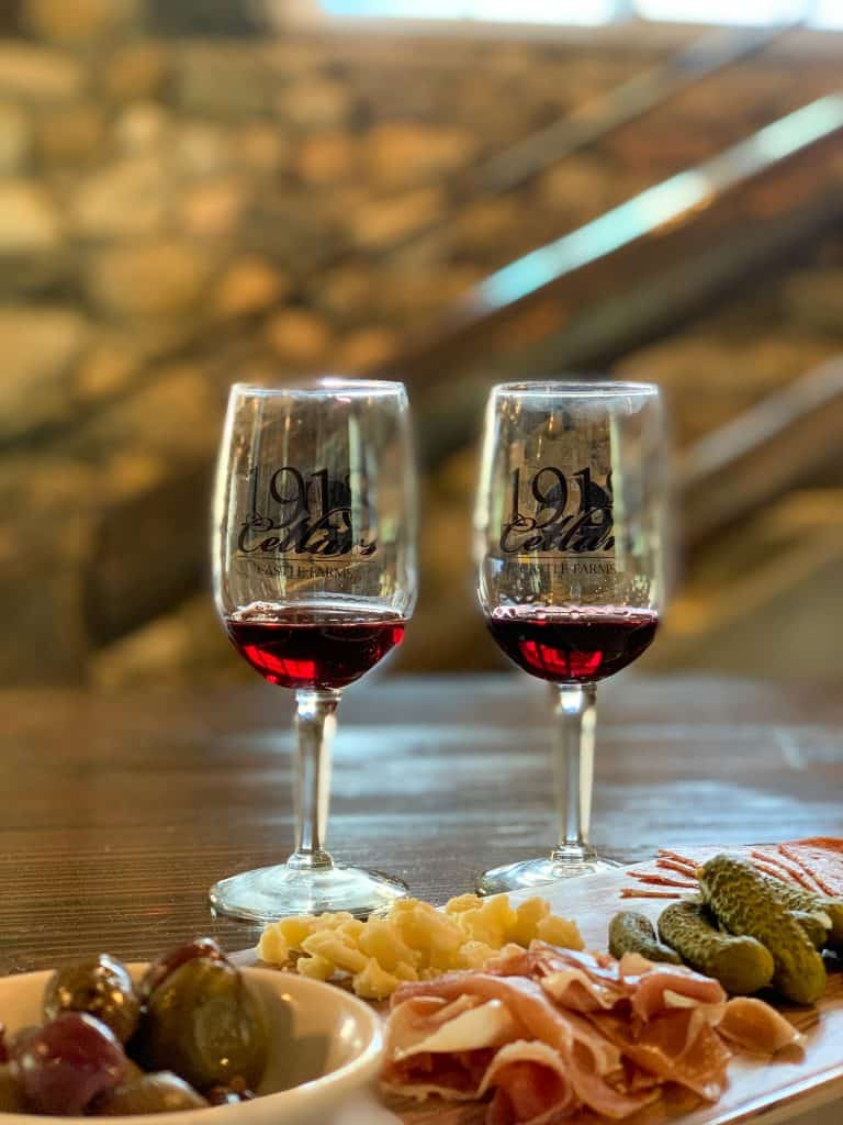 """<span class=""""has-inline-color has-white-color"""">1918 </span>Cellars is the on-site winery"""